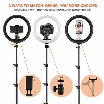 GerTong 12 Zoll Ringlicht mit Stativ Handy Bunt, Tisch Led Ringlicht/150cm Bodenständer Ring Light mit Fernbedienung für YouTube Video/Selfie/Makeup, 20 RGB-Modi 13 Helligkeit - 8