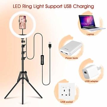 GerTong 12 Zoll Ringlicht mit Stativ Handy Bunt, Tisch Led Ringlicht/150cm Bodenständer Ring Light mit Fernbedienung für YouTube Video/Selfie/Makeup, 20 RGB-Modi 13 Helligkeit - 9