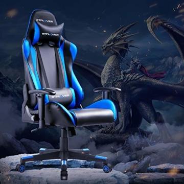 GTPLAYER Gaming Stuhl Bürostuhl Gamer Ergonomischer Stuhl Einstellbare Armlehne Einteiliger Stahlrahmen Einstellbarer Neigungswinkel (Schwarz-Blau) - 2