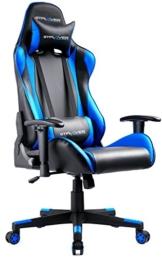 GTPLAYER Gaming Stuhl Bürostuhl Gamer Ergonomischer Stuhl Einstellbare Armlehne Einteiliger Stahlrahmen Einstellbarer Neigungswinkel (Schwarz-Blau) - 1