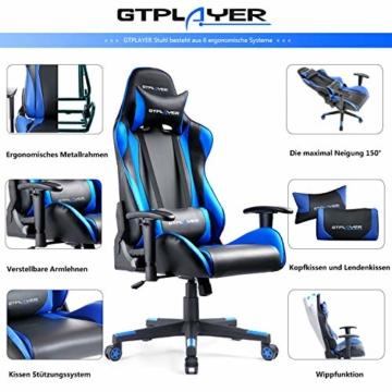 GTPLAYER Gaming Stuhl Bürostuhl Gamer Ergonomischer Stuhl Einstellbare Armlehne Einteiliger Stahlrahmen Einstellbarer Neigungswinkel (Schwarz-Blau) - 3