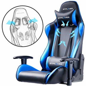 GTPLAYER Gaming Stuhl Bürostuhl Gamer Ergonomischer Stuhl Einstellbare Armlehne Einteiliger Stahlrahmen Einstellbarer Neigungswinkel (Schwarz-Blau) - 4