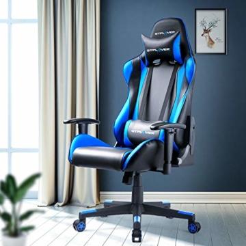 GTPLAYER Gaming Stuhl Bürostuhl Gamer Ergonomischer Stuhl Einstellbare Armlehne Einteiliger Stahlrahmen Einstellbarer Neigungswinkel (Schwarz-Blau) - 6