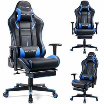 GTPLAYER Gaming Stuhl Bürostuhl Schreibtischstuhl Kunstleder Gamer Stuhl Drehstuhl höhenverstellbarer PC Stuhl Ergonomisches Design mit Fußstütze und Wippfunktion (Blue) - 2