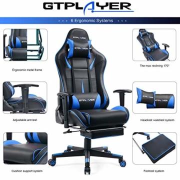 GTPLAYER Gaming Stuhl Bürostuhl Schreibtischstuhl Kunstleder Gamer Stuhl Drehstuhl höhenverstellbarer PC Stuhl Ergonomisches Design mit Fußstütze und Wippfunktion (Blue) - 3