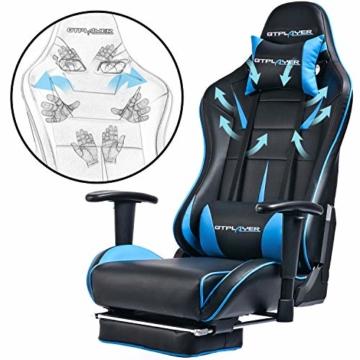 GTPLAYER Gaming Stuhl Bürostuhl Schreibtischstuhl Kunstleder Gamer Stuhl Drehstuhl höhenverstellbarer PC Stuhl Ergonomisches Design mit Fußstütze und Wippfunktion (Blue) - 4