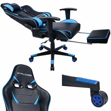 GTPLAYER Gaming Stuhl Bürostuhl Schreibtischstuhl Kunstleder Gamer Stuhl Drehstuhl höhenverstellbarer PC Stuhl Ergonomisches Design mit Fußstütze und Wippfunktion (Blue) - 6