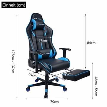 GTPLAYER Gaming Stuhl Bürostuhl Schreibtischstuhl Kunstleder Gamer Stuhl Drehstuhl höhenverstellbarer PC Stuhl Ergonomisches Design mit Fußstütze und Wippfunktion (Blue) - 7