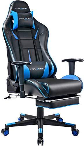 GTPLAYER Gaming Stuhl Bürostuhl Schreibtischstuhl Kunstleder Gamer Stuhl Drehstuhl höhenverstellbarer PC Stuhl Ergonomisches Design mit Fußstütze und Wippfunktion (Blue) - 1