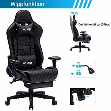 KCREAM Gaming Stuhl Gaming Sessel Massage Racing Bürostuhl Höhenverstellbarer Drehstuhl PC Stuhl Ergonomisches Computerstuhl Gamer Stuhl (schwarz) - 4