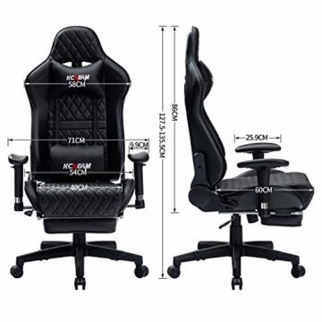 KCREAM Gaming Stuhl Gaming Sessel Massage Racing Bürostuhl Höhenverstellbarer Drehstuhl PC Stuhl Ergonomisches Computerstuhl Gamer Stuhl (schwarz) - 5