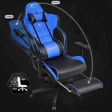 Kirogi Gaming-Stuhl, Gamer-Stuhl mit Fußstütze, Ergonomischer Computerstuhl mit Lendenwirbelstütze, Verstellbarer PC-Gaming-Stuhl für Erwachsene, großer und hoher Bürostuhl aus Kohlefaser Leder. Blau - 2