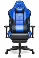 Kirogi Gaming-Stuhl, Gamer-Stuhl mit Fußstütze, Ergonomischer Computerstuhl mit Lendenwirbelstütze, Verstellbarer PC-Gaming-Stuhl für Erwachsene, großer und hoher Bürostuhl aus Kohlefaser Leder. Blau - 1