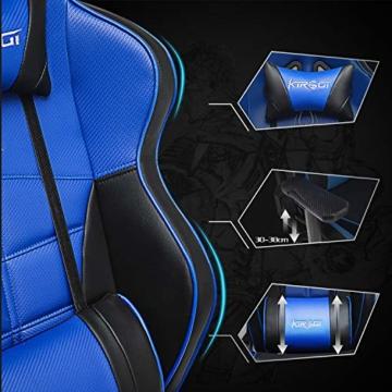 Kirogi Gaming-Stuhl, Gamer-Stuhl mit Fußstütze, Ergonomischer Computerstuhl mit Lendenwirbelstütze, Verstellbarer PC-Gaming-Stuhl für Erwachsene, großer und hoher Bürostuhl aus Kohlefaser Leder. Blau - 3