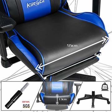 Kirogi Gaming-Stuhl, Gamer-Stuhl mit Fußstütze, Ergonomischer Computerstuhl mit Lendenwirbelstütze, Verstellbarer PC-Gaming-Stuhl für Erwachsene, großer und hoher Bürostuhl aus Kohlefaser Leder. Blau - 4