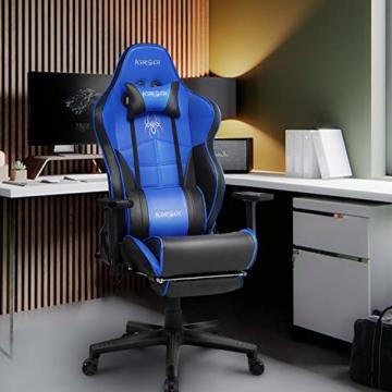 Kirogi Gaming-Stuhl, Gamer-Stuhl mit Fußstütze, Ergonomischer Computerstuhl mit Lendenwirbelstütze, Verstellbarer PC-Gaming-Stuhl für Erwachsene, großer und hoher Bürostuhl aus Kohlefaser Leder. Blau - 6