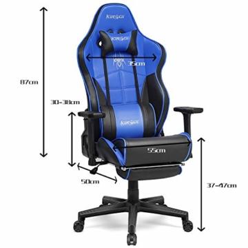 Kirogi Gaming-Stuhl, Gamer-Stuhl mit Fußstütze, Ergonomischer Computerstuhl mit Lendenwirbelstütze, Verstellbarer PC-Gaming-Stuhl für Erwachsene, großer und hoher Bürostuhl aus Kohlefaser Leder. Blau - 7