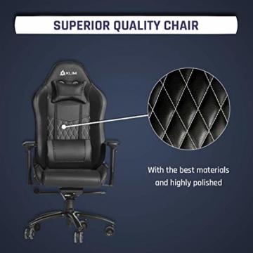 KLIM Esports Gaming Stuhl + Mit Lenden- und Nackenstütze + Verstellbar Gaming Sessel + Ergonomisch PC Stuhl + Kunstleder und Premium-Materialien + Schwarz Gamer Stuhl 2021 Version Gaming Chair - 2