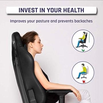 KLIM Esports Gaming Stuhl + Mit Lenden- und Nackenstütze + Verstellbar Gaming Sessel + Ergonomisch PC Stuhl + Kunstleder und Premium-Materialien + Schwarz Gamer Stuhl 2021 Version Gaming Chair - 4