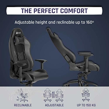 KLIM Esports Gaming Stuhl + Mit Lenden- und Nackenstütze + Verstellbar Gaming Sessel + Ergonomisch PC Stuhl + Kunstleder und Premium-Materialien + Schwarz Gamer Stuhl 2021 Version Gaming Chair - 6