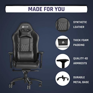 KLIM Esports Gaming Stuhl + Mit Lenden- und Nackenstütze + Verstellbar Gaming Sessel + Ergonomisch PC Stuhl + Kunstleder und Premium-Materialien + Schwarz Gamer Stuhl 2021 Version Gaming Chair - 8