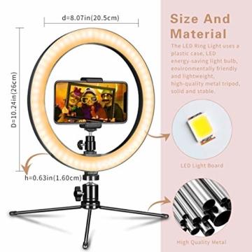 LED Ringlicht mit Stativ & Handyhalter 10 Zoll, Dimmbare Tischringlicht für YouTube-Videoaufnahmen, Selfie, Live-Stream, Makeup/Fotografie mit 3 Beleuchtungsmodi und 10 Helligkeitsstufen - 3