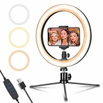 LED Ringlicht mit Stativ & Handyhalter 10 Zoll, Dimmbare Tischringlicht für YouTube-Videoaufnahmen, Selfie, Live-Stream, Makeup/Fotografie mit 3 Beleuchtungsmodi und 10 Helligkeitsstufen - 1