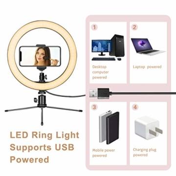 LED Ringlicht mit Stativ & Handyhalter 10 Zoll, Dimmbare Tischringlicht für YouTube-Videoaufnahmen, Selfie, Live-Stream, Makeup/Fotografie mit 3 Beleuchtungsmodi und 10 Helligkeitsstufen - 5