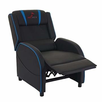 Mendler Fernsehsessel HWC-D68, HWC-Racer Relaxsessel TV-Sessel Gaming-Sessel, Kunstleder - schwarz/blau - 2