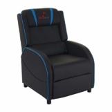 Mendler Fernsehsessel HWC-D68, HWC-Racer Relaxsessel TV-Sessel Gaming-Sessel, Kunstleder - schwarz/blau - 1