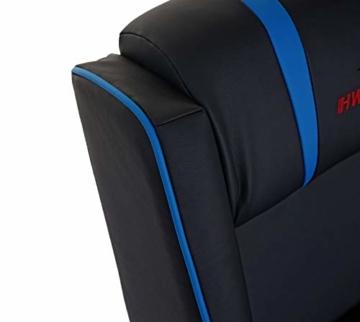 Mendler Fernsehsessel HWC-D68, HWC-Racer Relaxsessel TV-Sessel Gaming-Sessel, Kunstleder - schwarz/blau - 5