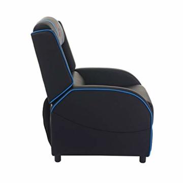 Mendler Fernsehsessel HWC-D68, HWC-Racer Relaxsessel TV-Sessel Gaming-Sessel, Kunstleder - schwarz/blau - 7
