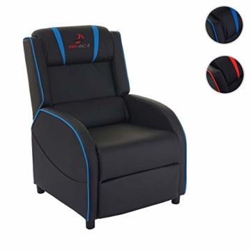 Mendler Fernsehsessel HWC-D68, HWC-Racer Relaxsessel TV-Sessel Gaming-Sessel, Kunstleder - schwarz/blau - 8