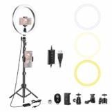Neewer 10 Zoll dimmbares LED-Ringlicht mit 47-Zoll Stativständer Handyhalterung Kompatibel mit iPhone XS Max XR Android Geeignet für Live-Streaming/YouTube/Tiktok/Make-up/Videoaufnahmen - 1