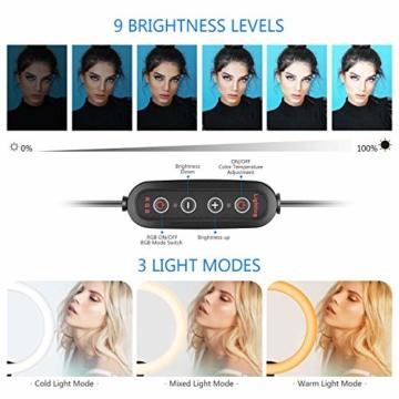 Neewer 10-Zoll LED RGB Selfie-Ringlicht mit Stativständer und Schwanenhals-Telefonhalter 3 Lichtmodi und 9 dimmbar mit Helligkeitsstufe für Live-Streaming/Make-up/YouTube-Video - 2