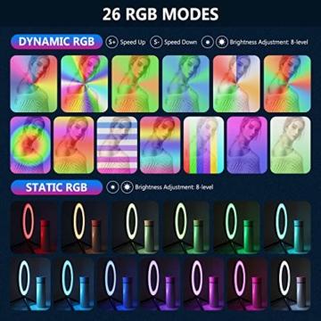 Neewer 10-Zoll LED RGB Selfie-Ringlicht mit Stativständer und Schwanenhals-Telefonhalter 3 Lichtmodi und 9 dimmbar mit Helligkeitsstufe für Live-Streaming/Make-up/YouTube-Video - 3