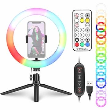 Neewer 10-Zoll LED RGB Selfie-Ringlicht mit Stativständer und Schwanenhals-Telefonhalter 3 Lichtmodi und 9 dimmbar mit Helligkeitsstufe für Live-Streaming/Make-up/YouTube-Video - 1