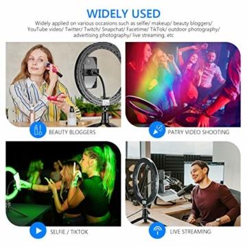 Neewer 10-Zoll LED RGB Selfie-Ringlicht mit Stativständer und Schwanenhals-Telefonhalter 3 Lichtmodi und 9 dimmbar mit Helligkeitsstufe für Live-Streaming/Make-up/YouTube-Video - 6