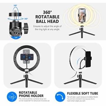 Neewer 10-Zoll LED RGB Selfie-Ringlicht mit Stativständer und Schwanenhals-Telefonhalter 3 Lichtmodi und 9 dimmbar mit Helligkeitsstufe für Live-Streaming/Make-up/YouTube-Video - 7