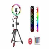 Neewer 10 Zoll RGB Selfie Ringlicht mit Stativständer und Telefonhalter Infrarot-Fernbedienung dimmbaren 16 Farben und 4 Blitzmodi für Make-up/Live-Streaming/YouTube/Tiktok/Videoaufnahmen - 1