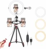 Neewer 10 Zoll Selfie Ringlicht mit Stativständer 3 Handyhalterungen LED Ringlicht mit weicher Röhre und Fernbedienungs Set 3 Moduslichter für Make-up YouTube/TikTok Video Live Streaming - 1