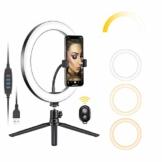 Neewer 10 Zoll USB LED Ringlicht mit Stativständer 3 Lichtmodi/10 Helligkeitsstufen für YouTube Tiktok Makeup Selfie Live Streaming, Flexibler Handyhalter und Fernbedienung inklusive - 1