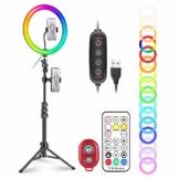 """Neewer 12"""" RGB Selfie Ringlicht mit Ständer, dimmbares LED Ringlicht mit 48 Zoll Stativ, Telefonhalter, Fernbedienung, 29 Farbmodi für Make up/Live Streaming/YouTube/Tiktok/Videoaufnahme - 1"""