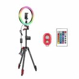 Neewer 12 Zoll RGB-Ringlicht Selfie-Ringlicht mit Stativständer und Telefonhalter Infrarot-Fernbedienung dimmbaren 16 Farben und 4 Blitzmodi für Make-up/YouTube/Tiktok/Video - 1