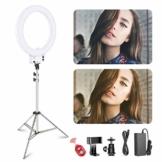 Neewer 18 Zoll dimmbares weißes LED Ringlicht mit silbernem Lampenständer Licht Set mit weicher Filter Zubehörschuh Adapter Handyhalter für Make-up Video - 1
