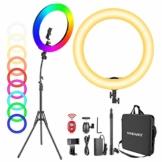 Neewer 18-Zoll RGB Ringlicht mit Ständer, 42W dimmbares zweifarbiges 3200K-5600K CRI95+ LED Ringlicht mit 0-360 Vollfarbe, 9 Spezialszenen Effekt für Selfie/Make-up/Party/Vlog/YouTube-Videoaufnahmen - 1