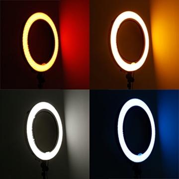 Neewer 4-Farb Faltbare bewegliche Video Ring Licht Softbox Diffusor Tuch Set für Neewer 18 Zoll 75W Ring Licht und 55W LED Ring Licht, Hohe Lichtübertragung Material (rot, gelb, weiß, blau) - 3