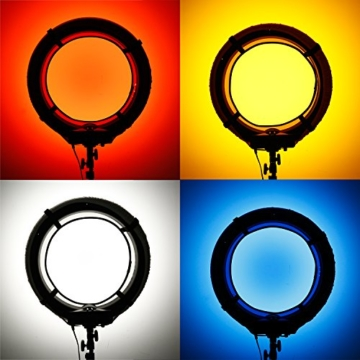 Neewer 4-Farb Faltbare bewegliche Video Ring Licht Softbox Diffusor Tuch Set für Neewer 18 Zoll 75W Ring Licht und 55W LED Ring Licht, Hohe Lichtübertragung Material (rot, gelb, weiß, blau) - 4