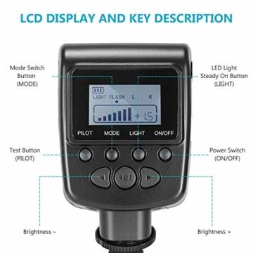 Neewer 48 Makro LED Ringblitzleuchte Set für Canon/Nikon/Panasonic/Olympus/Pentax SLR Kamera (Makro Ring Kopf, Leistungsregler mit LCD Anzeige, 4X Blitz-Diffusor, 8X Adapterring) - 2