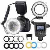 Neewer 48 Makro LED Ringblitzleuchte Set für Canon/Nikon/Panasonic/Olympus/Pentax SLR Kamera (Makro Ring Kopf, Leistungsregler mit LCD Anzeige, 4X Blitz-Diffusor, 8X Adapterring) - 1